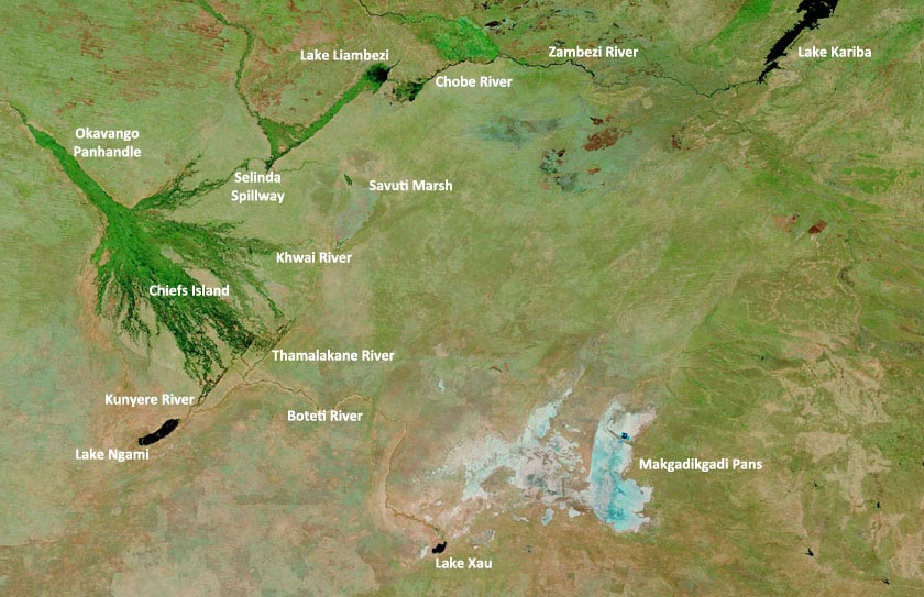 Satellite image of the greater Okavango region